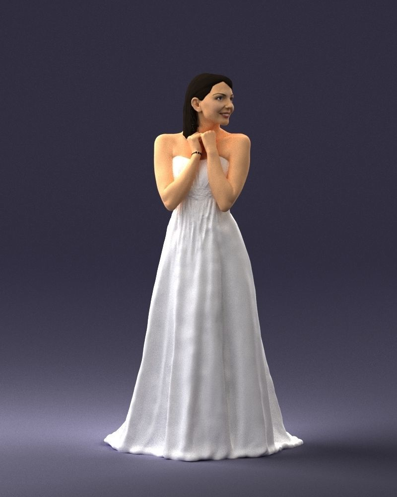 Bride in white dress 0388 3D Print Ready