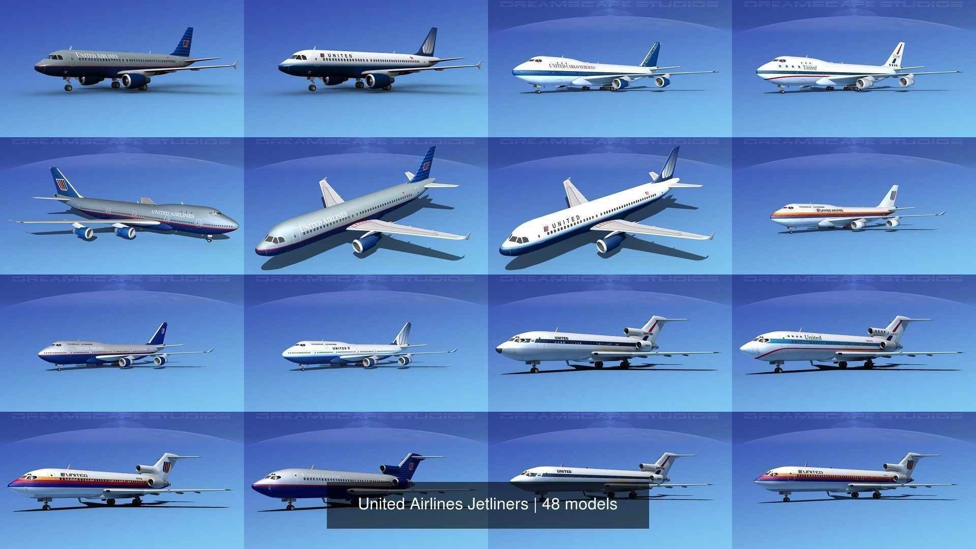 48 United Airlines Jetliners