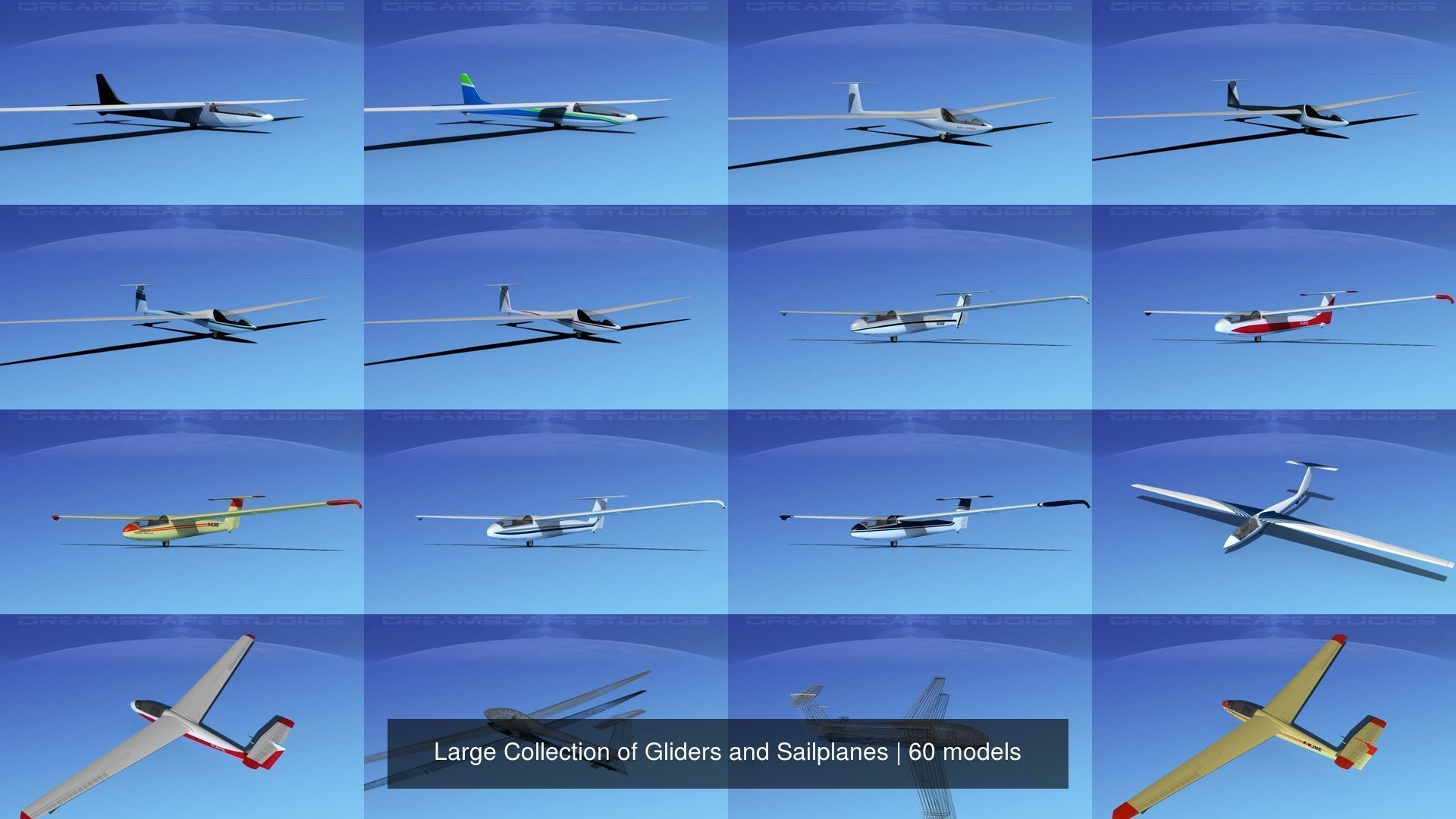 Large Collection of 60 Gliders and Sailplanes