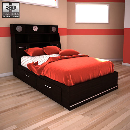 Ashley i zone bookcase bed 3d asset cgtrader for Furniture zone beds