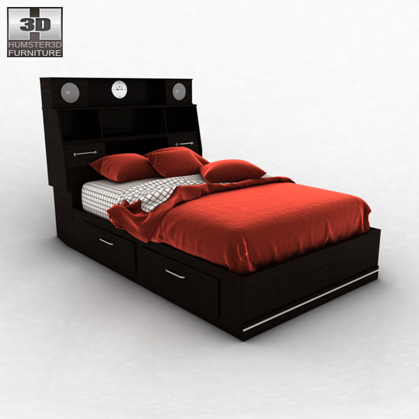 3d model ashley i zone bookcase bed vr ar low poly max for Furniture zone beds