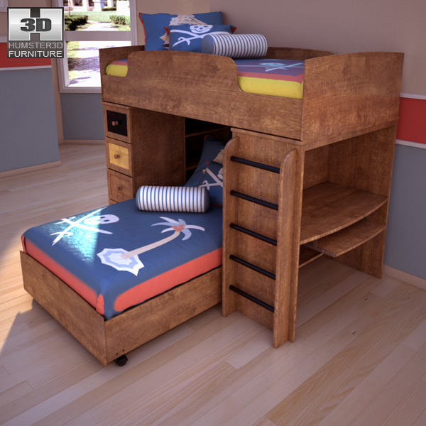 3D asset Ashley Alexander Youth Loft Bed   CGTrader
