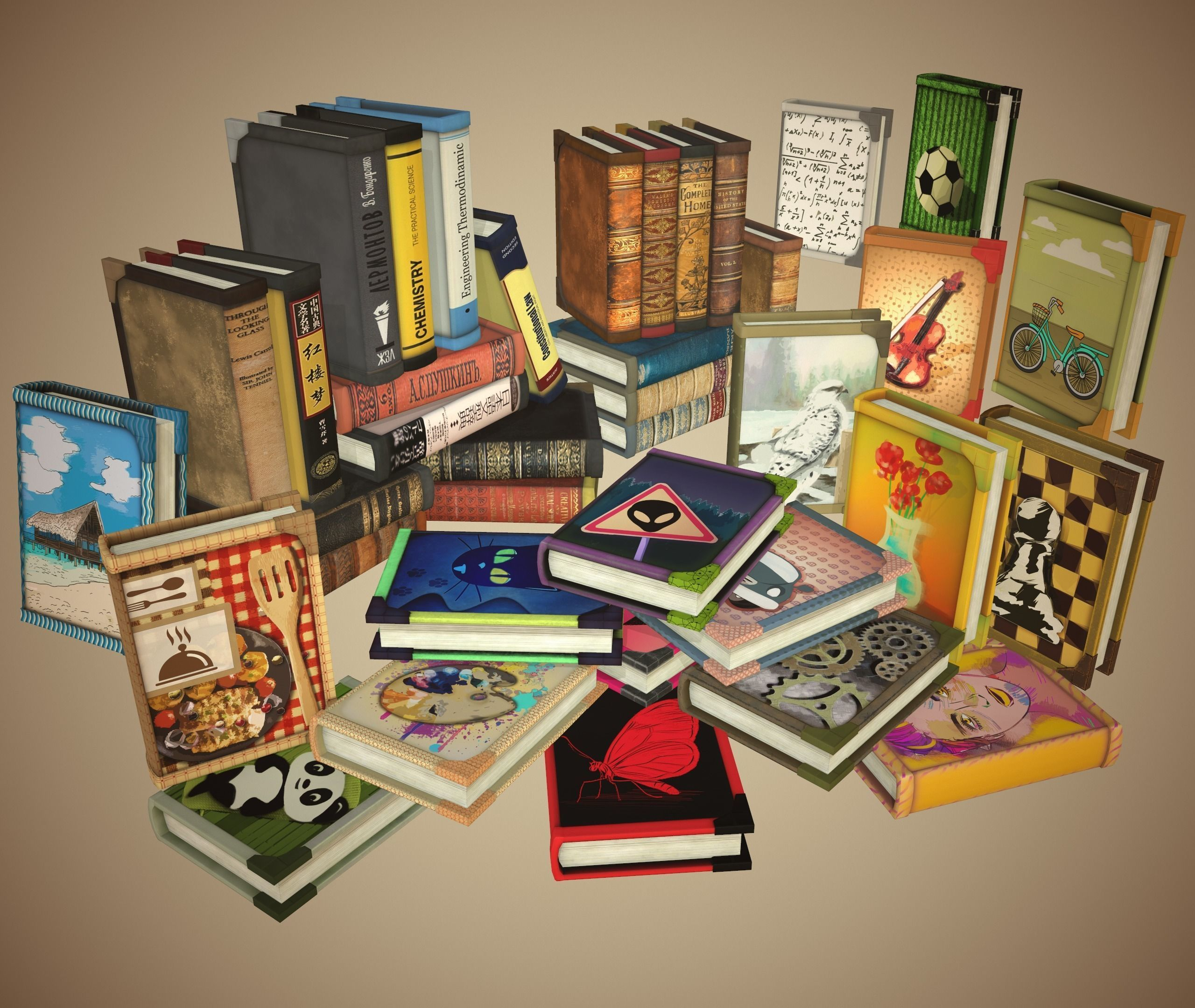 Book in different styles