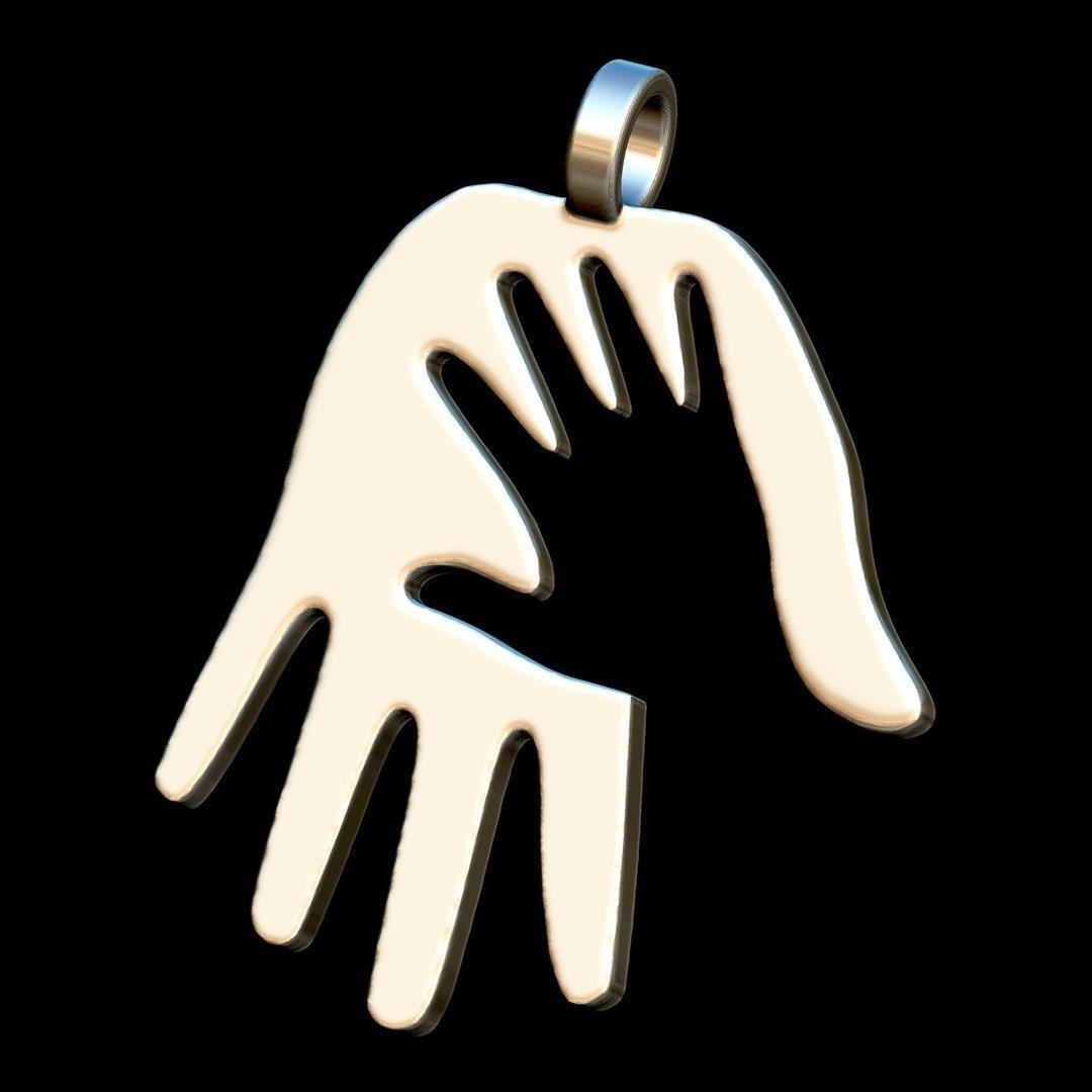 Hanb in hand steel pendant