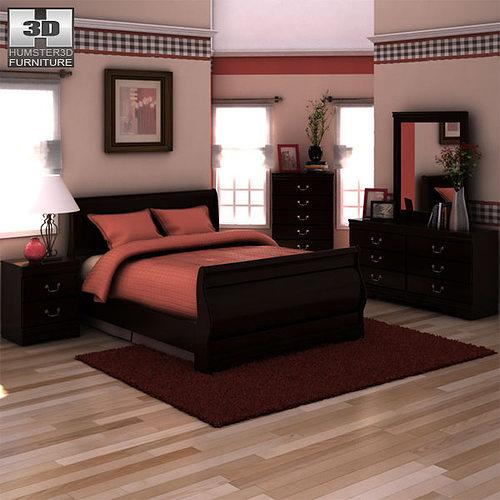 3d Model Ashley Huey Vineyard Sleigh Bedroom Set