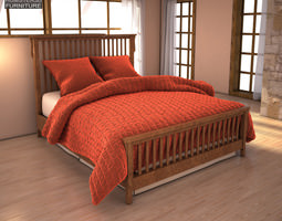 Ashley Colter Queen Panel Bed 3D model