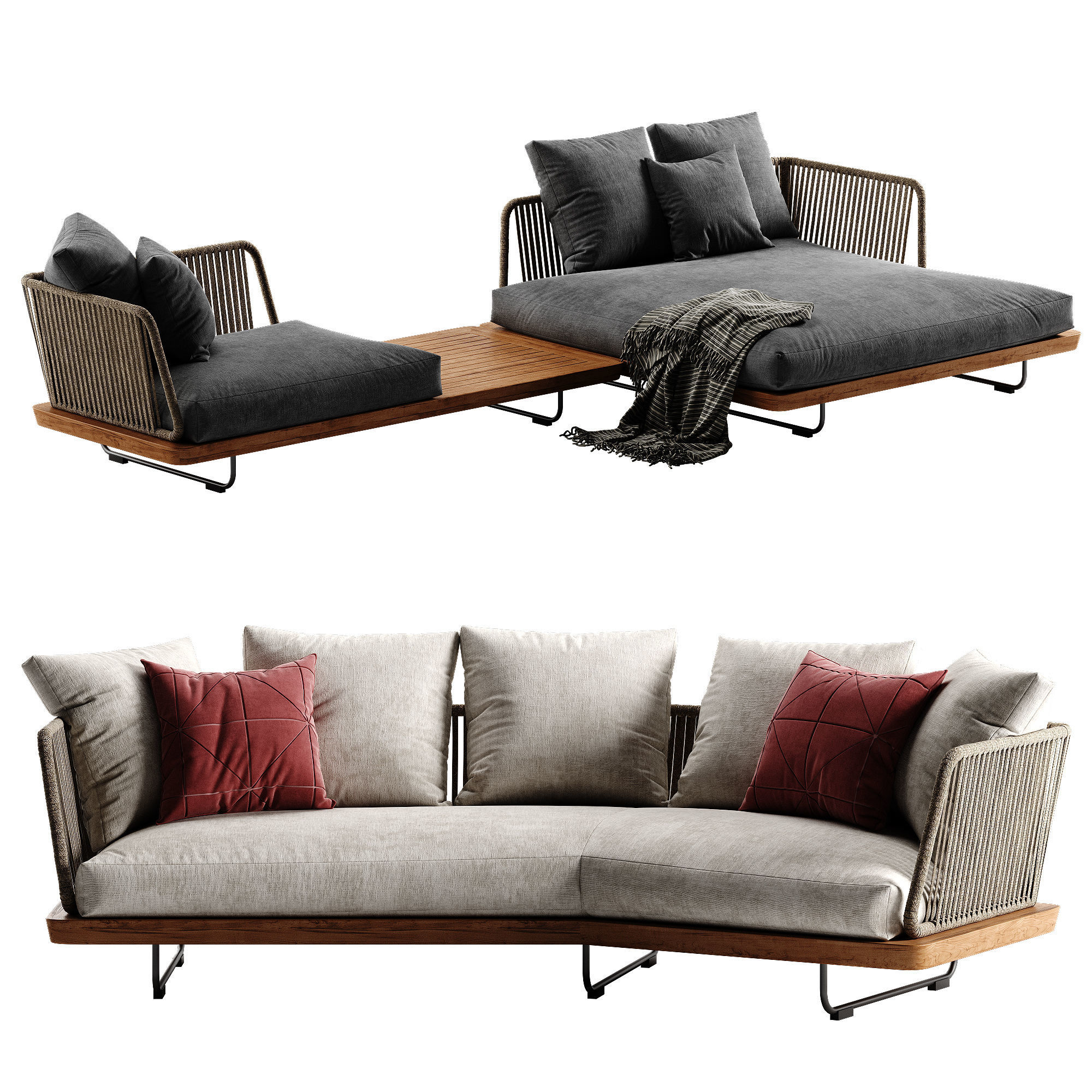 Minotti Sunray sofa set 2 3D model | CGTrader