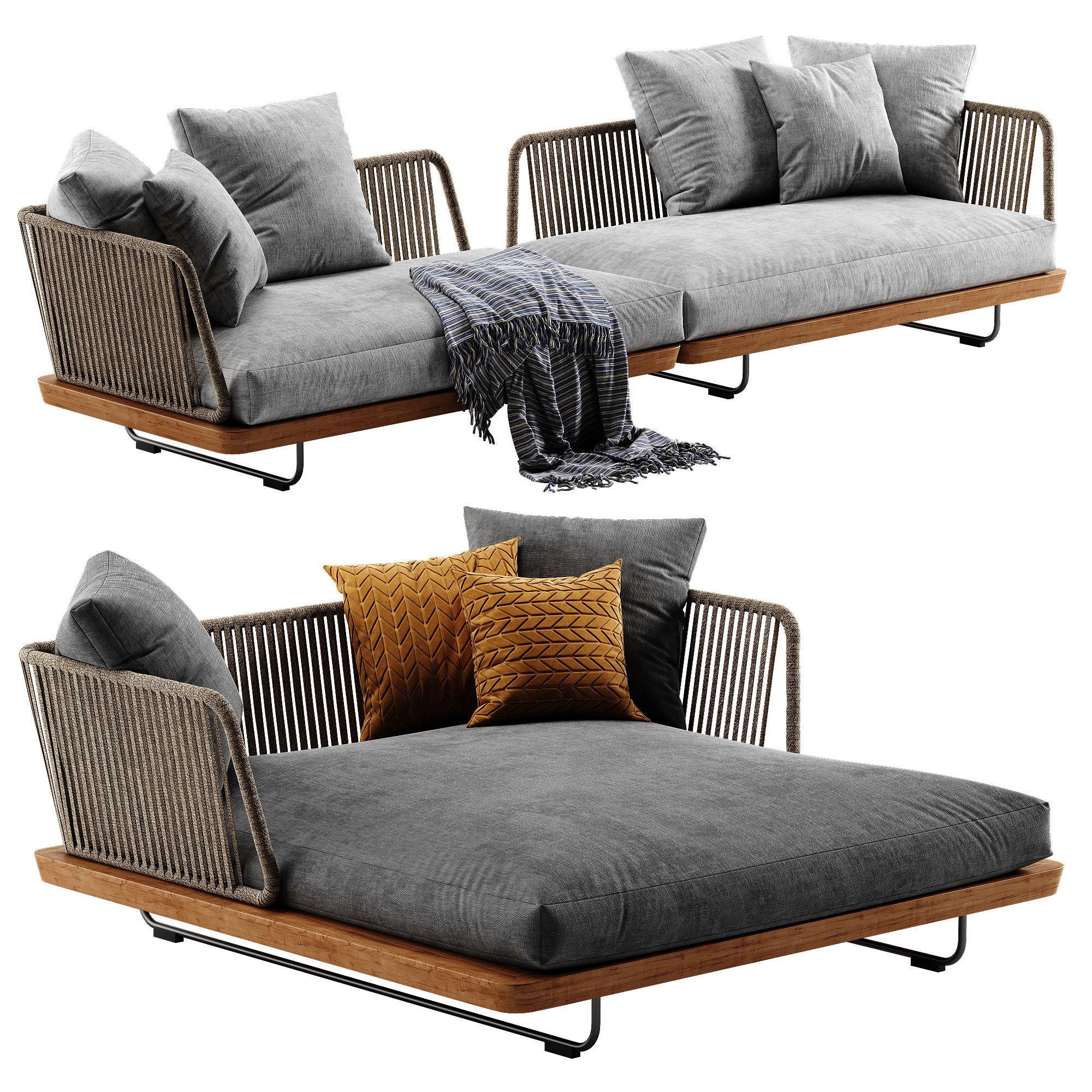 Minotti Sunray sofa set 3 3D | CGTrader