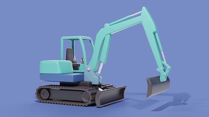 Cartoon Excavator Machinery