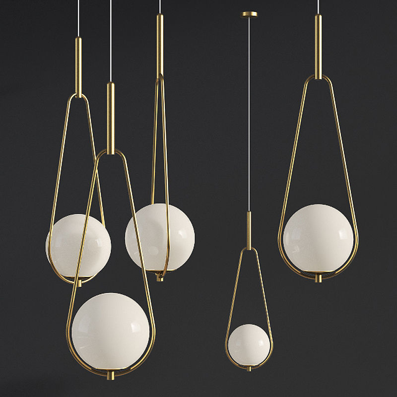 Pendant Lamp Loop Brass White Opaque Glass