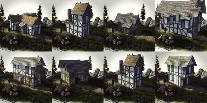 15 Medieval Buildings And 12 Props For AAA 3D Model
