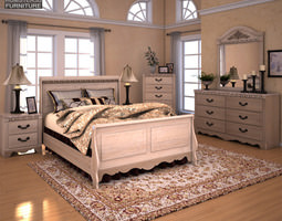 3d Model Ashley Wilmington Sleigh Bedroom Set Vr Ar