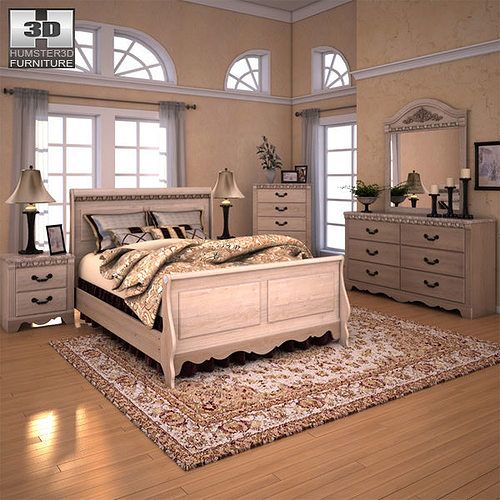 Ashley Silverglade Sleigh Bedroom Set 3d Asset Cgtrader