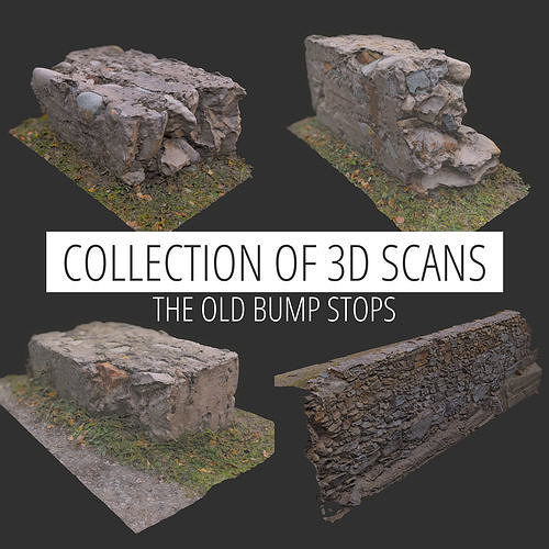 3d Scan collection remains of concrete crash barriers