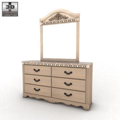 Ashley Silverglade Dresser Mirror 3d Model Game Ready Max Obj 3ds Fbx C4d Lwo Lw Lws