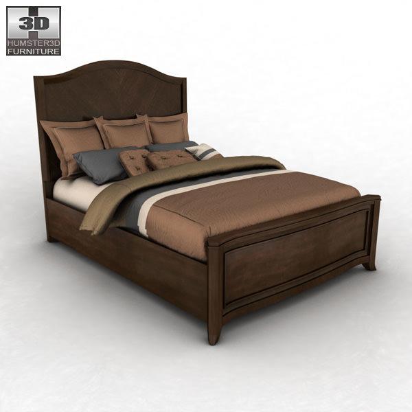 Ashley Ashlyn Queen Sleigh Bed 3D Model Game ready x