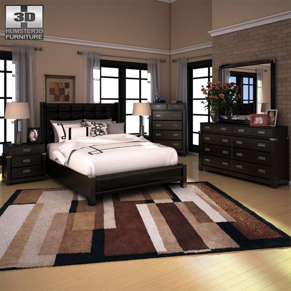 3d Model Ashley Diana Platform Bedroom Set Cgtrader
