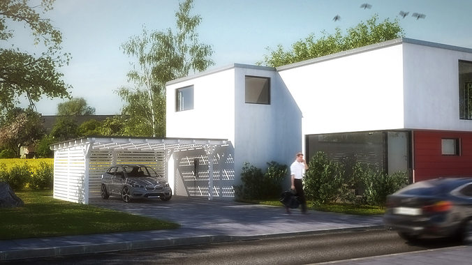3d asset house 2 modern city villa cgtrader for Model villa moderne