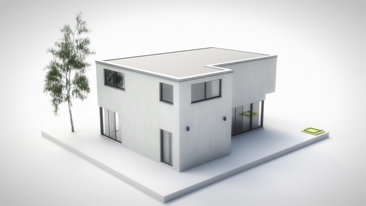 3d model house 2 modern city villa vr ar low poly House 3d model