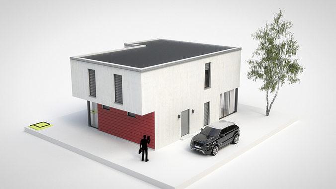 3D model House 2 - Modern City Villa VR / AR / low-poly ...