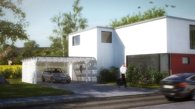 House 2 modern city villa 3d model game ready max obj for Model villa moderne