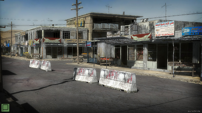 25 Afghanistan City Buildings Props for Games3D model