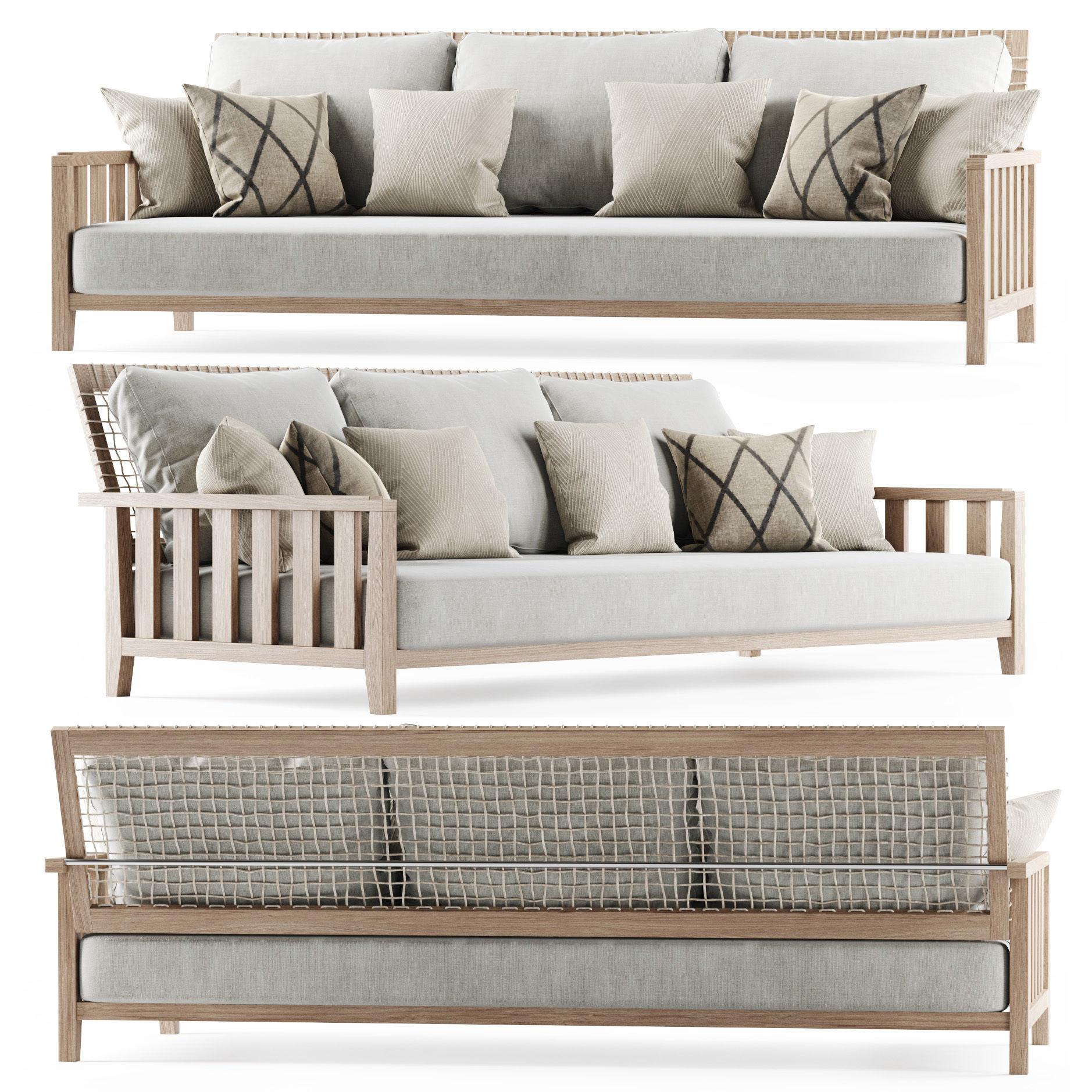 Three-seater garden sofa 3D   CGTrader