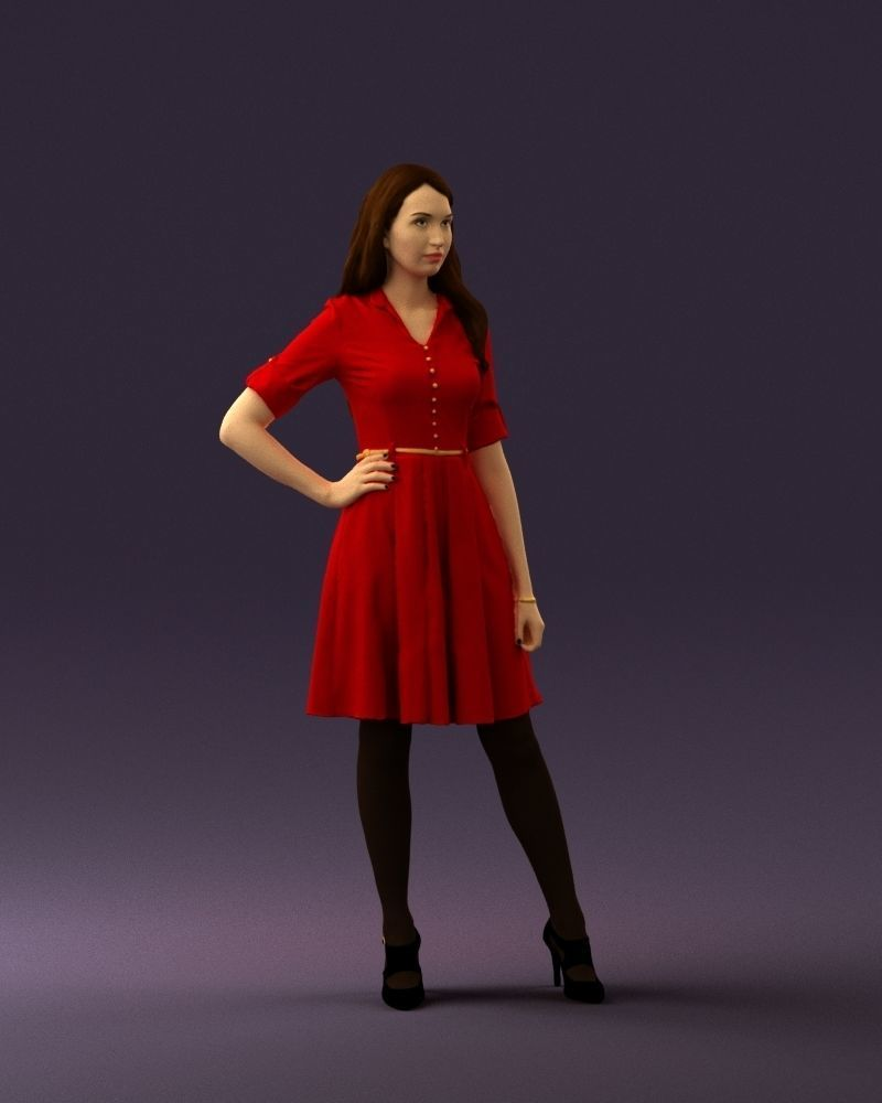 Woman in red dress 0408