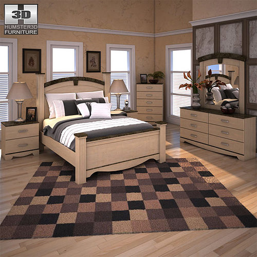 Ashley Olivia Bay Poster Bedroom Set 3d Model Cgtrader