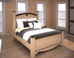 3d Model Ashley Rosalie Queen Poster Bed Vr Ar Low