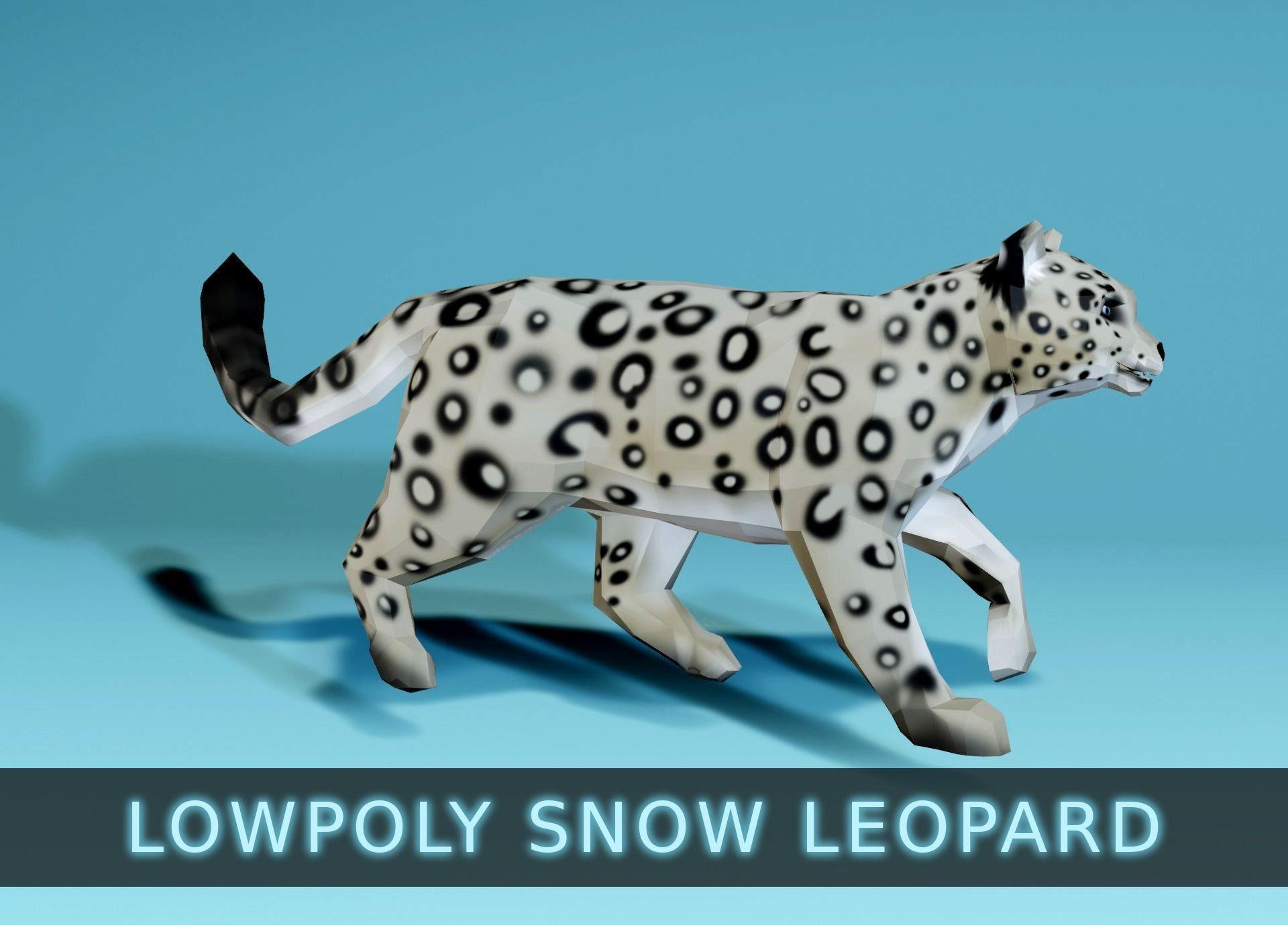 Lowpoly Snow Leopard