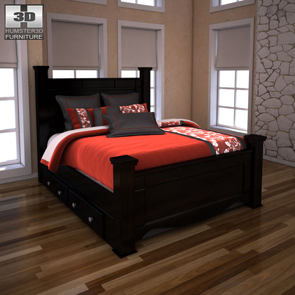 3D model Ashley Shay Queen Poster Bed with Storage VR / AR / low ...