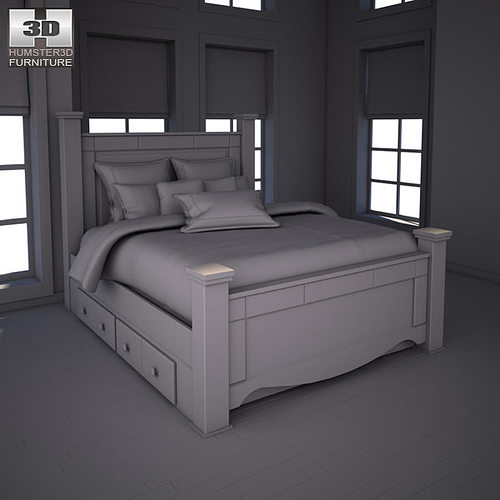 3D model Ashley Shay Queen Poster Bed with Storage VR AR low