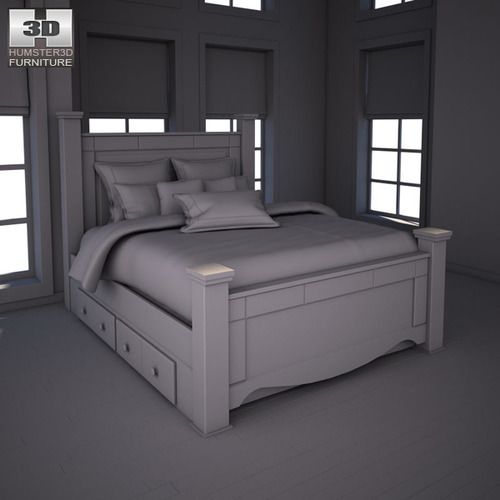 Ashley Shay Queen Poster Bed With Storage 3D Model Game