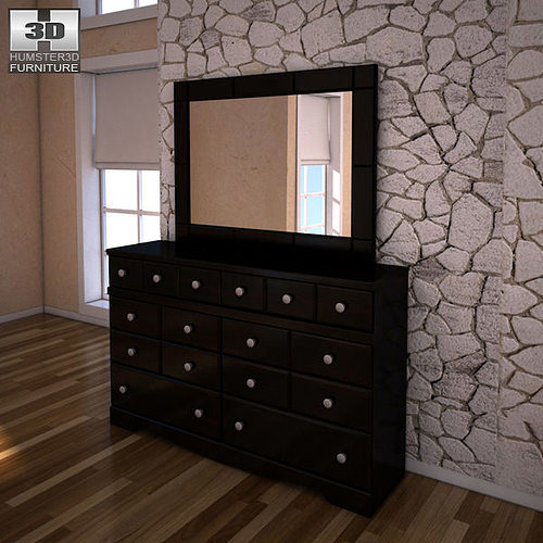 Ashley Shay Dresser Mirror Vr Ar Low Poly Model