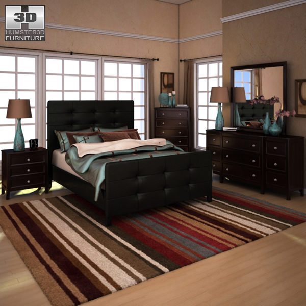 Ashley Carlyle Upholstered Bedroom Set 3D model | CGTrader