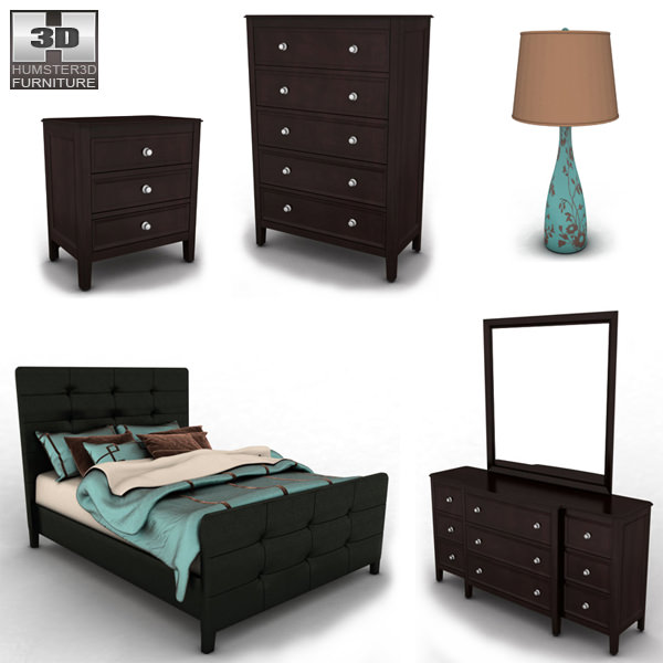 Ashley Carlyle Upholstered Bedroom Set Model Max Obj S Fbx Mtl 2