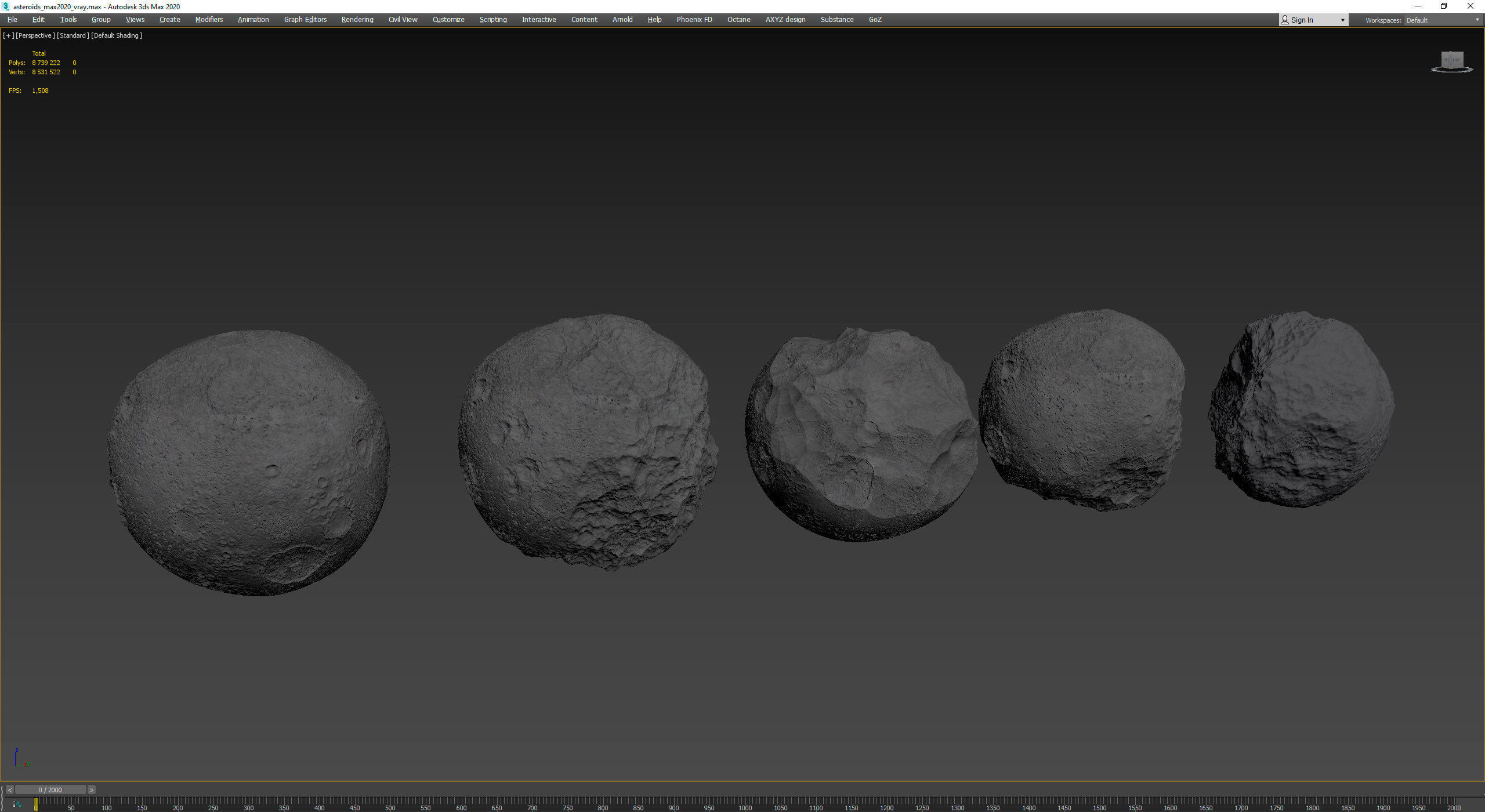 Detailed round asteroids high-poly set
