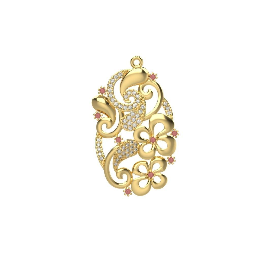 Women pendant with gems 3dm stl CAD