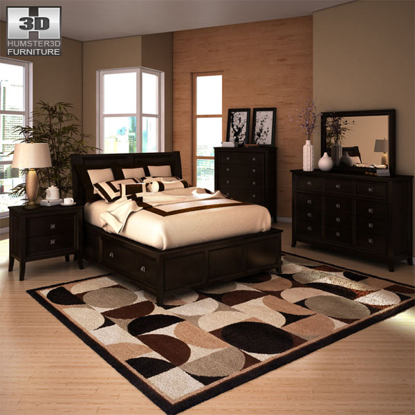 Superb Ashley Martini Suite Storage Bedroom Set 3d Model Max Obj 3ds Fbx Mtl 1 ...