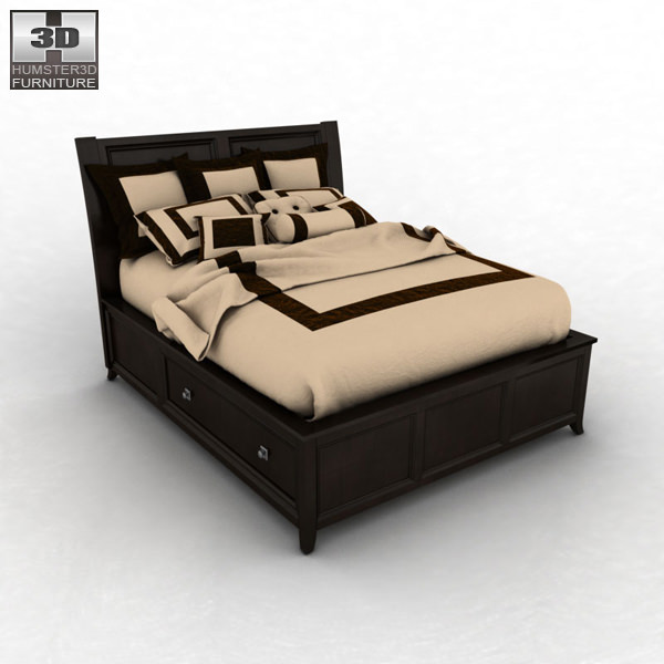 3D Model Ashley Martini Suite Queen Panel Headboard Bed VR