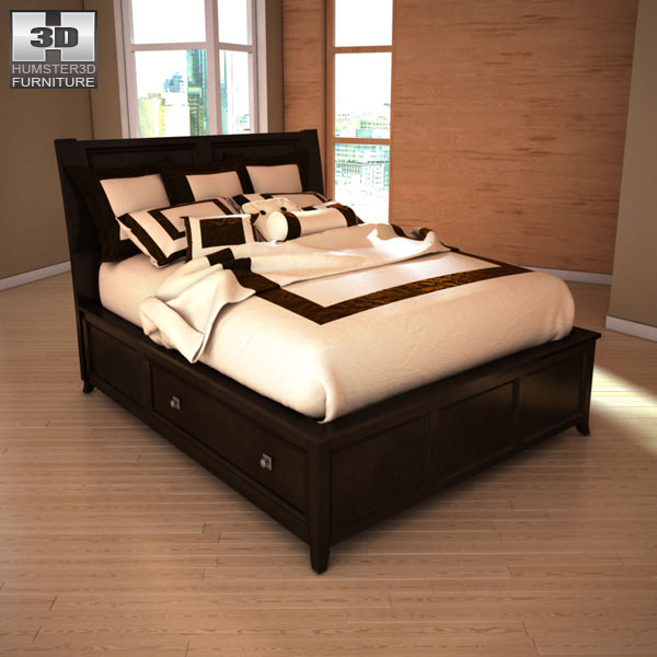 Ashley Martini Suite Queen Panel Headboard Bed Model Low Poly Max Obj S Fbx