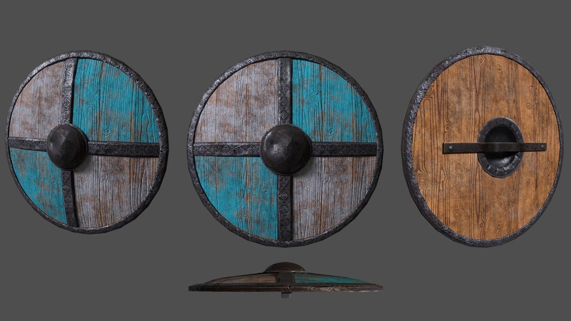 Viking shield Low-poly 3D model - Game Ready