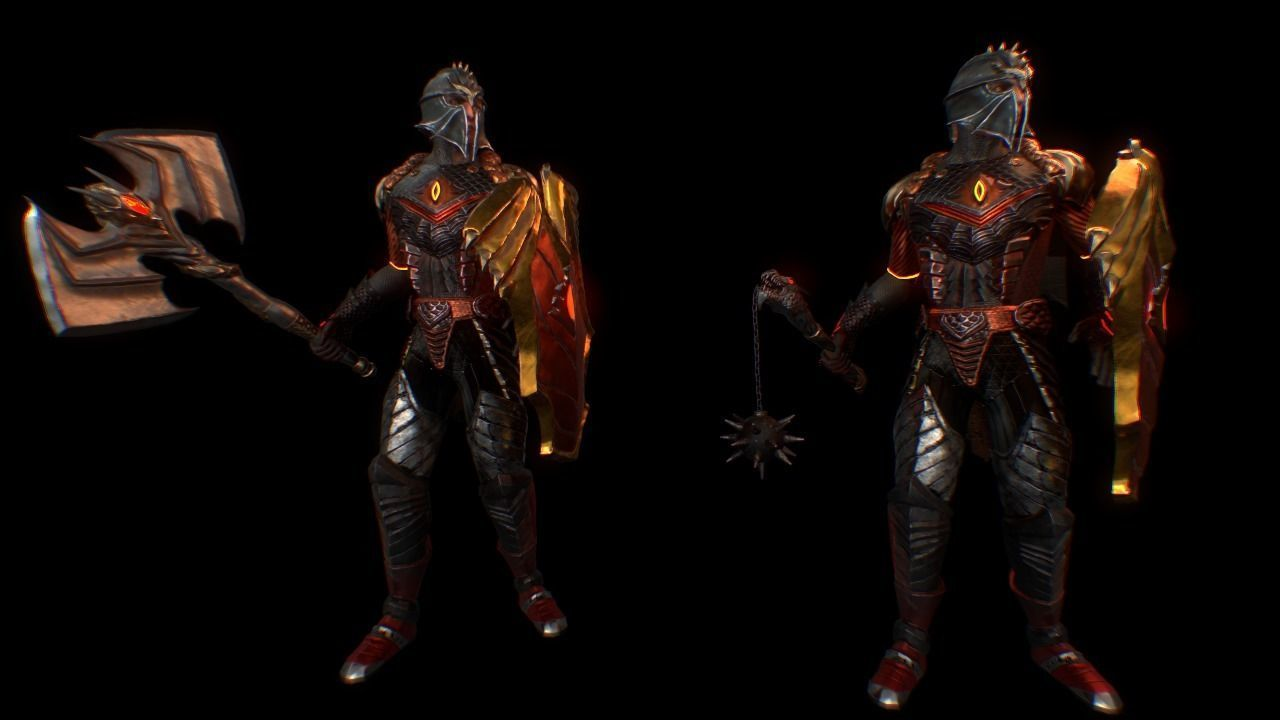 Dragon character Low-poly 3D model and pack weapon fantasy