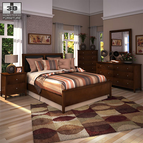Ashley Furniture Bryant Ar Collection Collection Ashley: 3D Model Ashley Nico Panel Bedroom Set VR / AR / Low-poly
