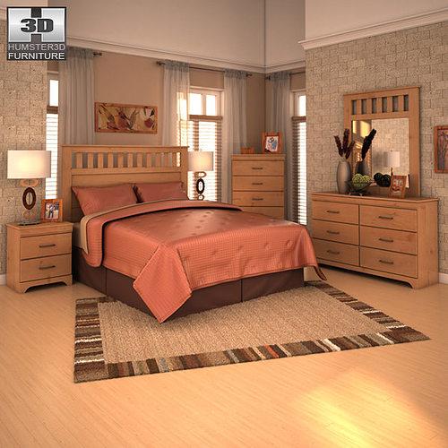 3d Model Ashley Bedroom Set Vr Ar Low Poly Max Obj 3ds