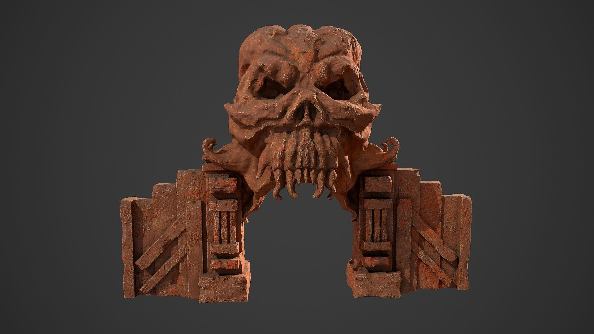 Fantasy red rocky arch with skull environment asset