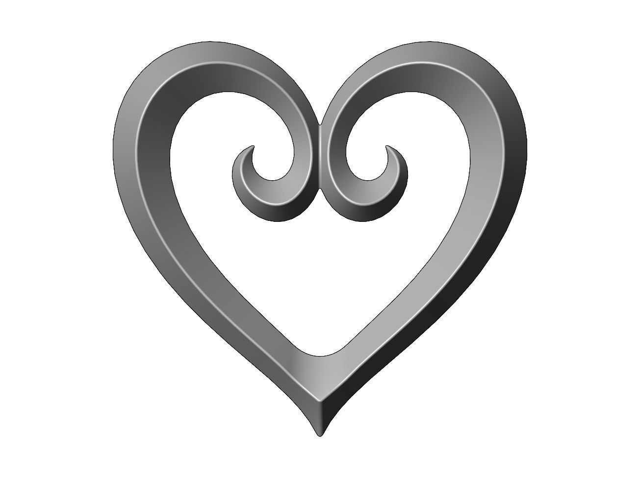 Heart shaped decoration element relief