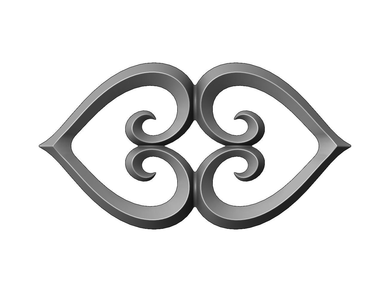 Double heart floral scroll relief
