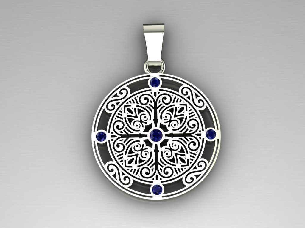 Pendant with patterns and sapphires